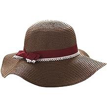 Gladiolus Mujer Sombrero de Paja Pamela con Bowknot Sombrero de la Playa  Sombrero de 82daeed1d4b