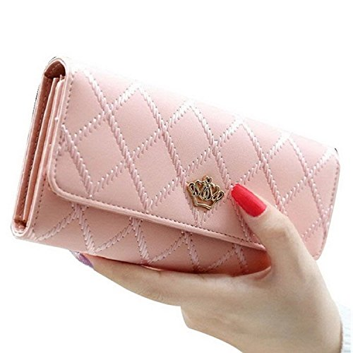 Casadeiy moda donne Lady portafoglio in pelle PU Crown Purse Blue Pink