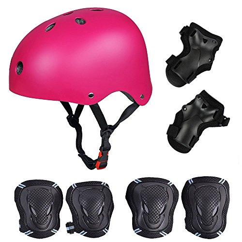 Skateboard / Skate Protektoren Set mit Helmet -- Skate Helmet Knie Pads Elbow Pads mit Handgelenkschoner für Skate, Skateboard, Roller Skate, BMX, Bike und anderen Extreme Sports, M Rose