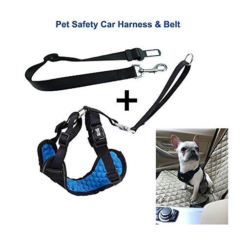 Vest Pet Harness, PET DOG Auto-Sicherheitsgeschirr, verstellbar Pet Gurt mit Stecker, atmungsaktives Nylon-Weste Mit Mesh Geschirr mit Auto Sicherheitsgurt, PET Supplies Hunde Geschirre