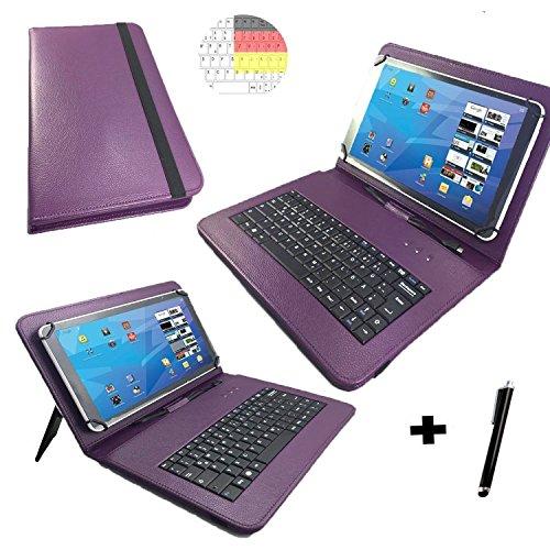 Allview Viva H1001 LTE - Qwertz Tastatur Tablet Tasche 10.1 mit Standfunktion - Deutsche Tastenbelegung - 10.1 Zoll Lila Tastatur
