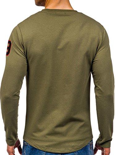 BOLF Herren Sweatshirt Langarmshirt Pullover Pulli Rundhals Sport 1A1 Motiv Grün