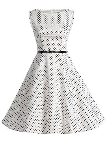 Bbonlinedress modèle 2 Vintage rétro 1950's Audrey Hepburn robe de soirée cocktail année 50 Rockabilly Blanc à pois noir