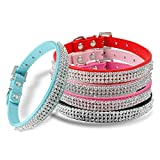 Swanky Paws Luxury Diamante Band Rhinestone Crystal Bling PU Leather Dog Cat Pet Collar UK-Hot Pink-Extra Large