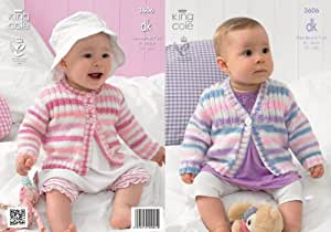 King Cole Baby Double Knitting DK Pattern Striped Round or V Neck Ribbed Yoke Cardigans 3606