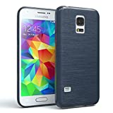 Samsung Galaxy S5 Mini Schutzhülle Silikon, gebürstet I von Eazy Case I Slimcover in Edelstahl Optik, Handyhülle, TPU Hülle/Soft Case, Backcover, Silikonhülle Brushed, Dunkelblau