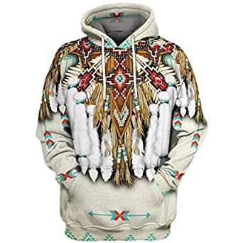 Iuhan Men Hoodie Blouse Sweatshirt 3D Printed Coat Long Sleeve Vintage Ethnic Style Sweater Warm Regular and Big Sizes Oversized Autumn Winter Jacket (White, S)