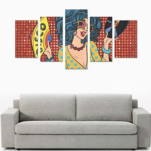 Coole Hip Hop Girl gestreiftes T-Shirt Hut Sonnenbrille (ohne Rahmen) Leinwanddruck Sets Wandkunst Bild 5 Stück Gemälde Poster Drucke Foto Bild auf Leinwand Fertig zum Aufhängen für Wohnzimmer Schlaf