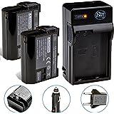Pack of 2 EN-EL15 Batteries and Battery Charger Kit for Nikon 1 V1 D600 D610 D800 D7000 D7100 Digital SLR Camera + More!!