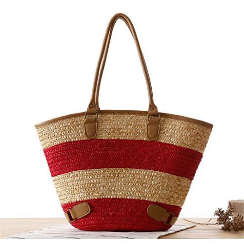 Strohsack Sommer Strand Handtasche Frauen Kausalen Einkaufs Reisetasche Große Kapazität Woven Umhängetaschen Beutel C44 Red