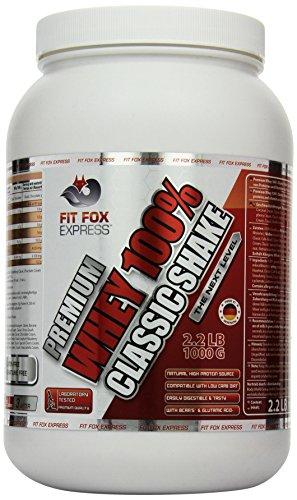 Fit Fox Express Premium Whey 100% Protein (Eiweißshake, Molkenprotein mit Dosierlöffel) Classic Chocolate Cream, 1er Pack (1 x 1 kg) Dose -