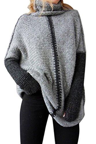 Lettre damour les Femmes Colorblock en Gilet Sweat - Shirts Tops Tortue Cou Grey