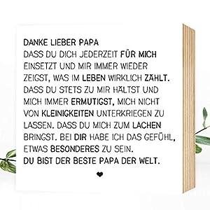 Wunderpixel® Holzbild Danke lieber Papa - v2 15x15x2cm zum Hinstellen/Aufhängen, echter Fotodruck mit Spruch auf Holz - schwarz-weißes Wand-Bild Aufsteller zur Dekoration/Geschenk - Danke-schön