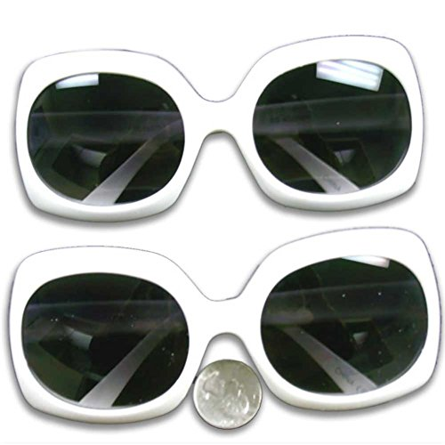Jackie O's Rectangle Shape Sunglasses in White with Dark Lens