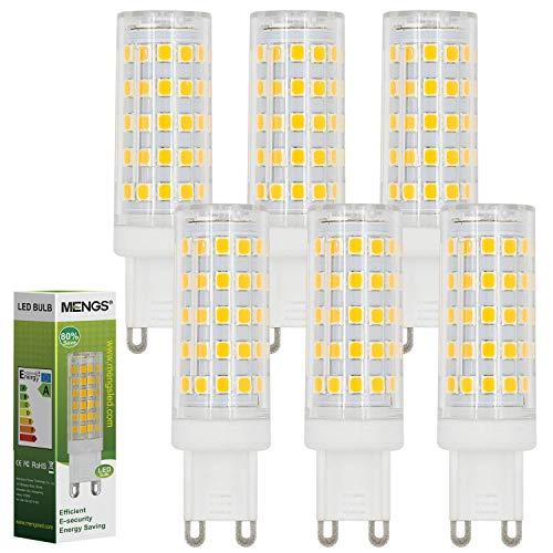 MENGS 6 pezzi G9 Luce a LED 10W=80W Lampadina a LED AC 220-240V Bianco Caldo 3000K 800LM con materiale PC Lampada a LED