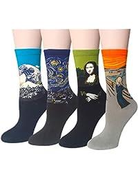 Chalier Pack de 4/5 Mujer Calcetines Ocasionales Divertidos Impresos de Algodón de Pintura Famosa