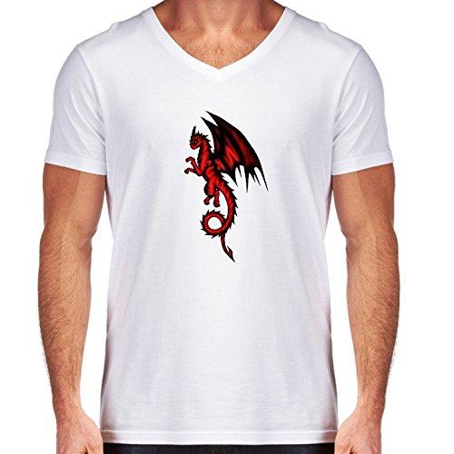 T-shirt Bianco scollo a V Uomo - Taglia S - Drago Nero-rosso by Pezi Creation