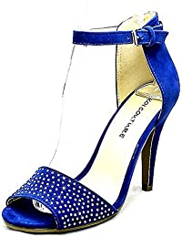 6b43a55ee36 SendIt4Me Blue Suedette Studded Front high Heel Shoes with Ankle Strap