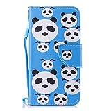Huawei Y5 2017 / Y6 2017 Hülle, Chreey PU Leder Schutzhülle mit Panda Kopf Muster Blau Bumper Flip Wallet Case Handyhülle