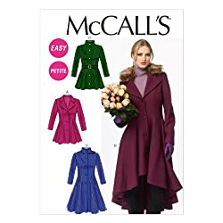 McCall Pattern Company M6800 Misses'/Miss Petite Lined Coats, Belt, Detachable Collar and Hood Sewing Template, Size E5 (14-16-18-20-22)