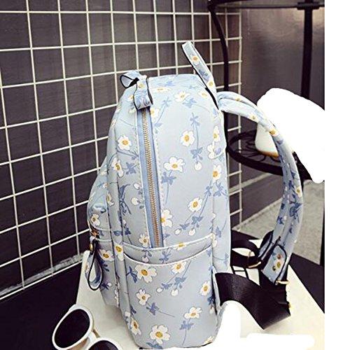 Qualität Frische Liebenswert Blumen Student Rucksack Beiläufiges Schultertasche Blue