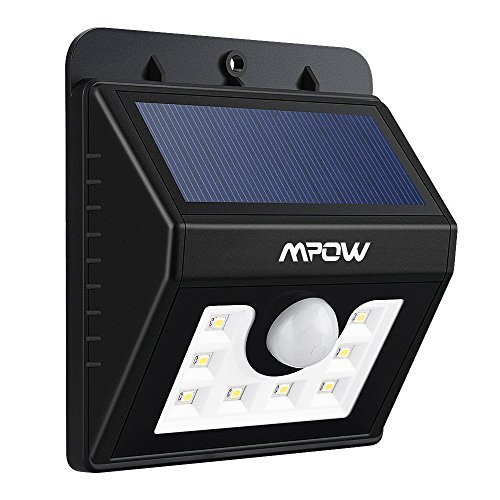 Mpow LED Solar Motion Sensor Lights Mpow 3-in-1 Waterproof Solar Energy Powered Security Light Outdoor Bright Light Wall Lamp with 3 Intelligient Modes for Garden, Outdoor, Fence, Patio, Deck, Yard, Home,