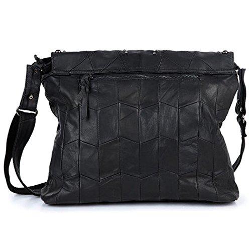 Mefly Leder Handtasche Kette Nähen Stoff Schulter Tasche large -dc ...