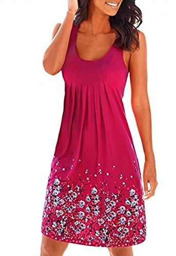 Strandkleider Damen Kleider Sommer Knielang Trägerkleid Sommerkleid Rot Medium