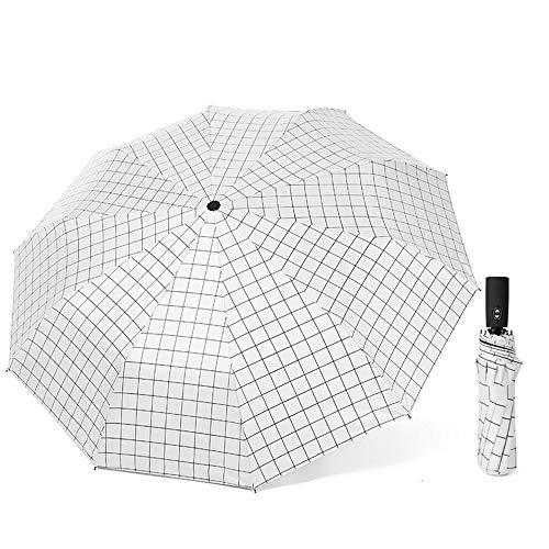 comechen Reiseregenschirm Winddicht Regenschirmwagen offen/geschlossen stabil wasserdicht,Automatikschirm Gitter dreifach gefaltet schwarzer Kunststoff Sonnenschutzfarbe4 100cm -
