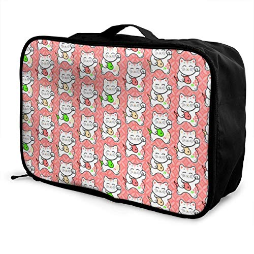Qurbet Reisetaschen,Reisetasche, Portable Luggage Duffel Bag Lucky Cat Caught Sushic Pink Travel Bags Carry-on in Trolley Handle -