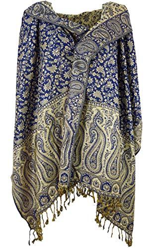 Guru-Shop Guru-Shop Pashmina Viskose Schal/Stola mit Paisley Muster, Herren/Damen, Blau, Synthetisch, Size:One Size, 180x70 cm, Schals Alternative Bekleidung
