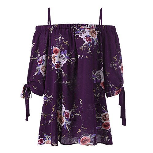 Plus Size Floral Print Cold Shoulder Blouse EUZeo Mode Sexy Damen Kurzarm Tops Camis (XL, Lila)