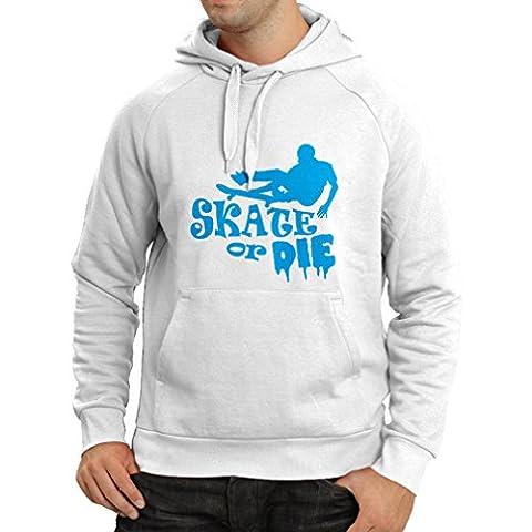 N4192H Hoodie Skate or Die t-shirt (X-Large White Blue)