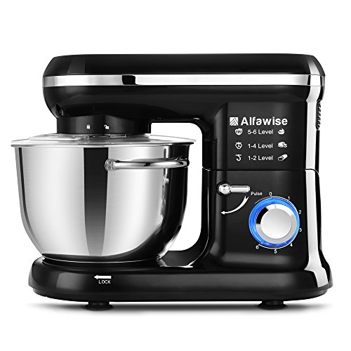 Alfawise Food Stand Mixer Dough Blender, 5.5 L 1090W MAX, 6 Speeds Noiseless Less Than 80, Low db UK (Beater, Hook, Whisk)