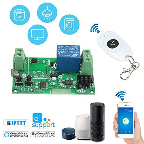 SONOFF 1PCS Módulo de Relé Inalámbrico RF 5V / 12V / 220V para Control de Android/iOS App Compatible con Amazon Alexa Voice Control + 1PCS RF 433MHz Control Remoto