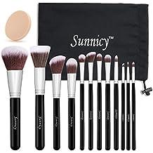 Sunnicy Juego de brochas de maquillaje (12 piezas), color negro y plateado, incluye estuche