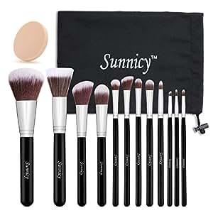 Kit de Pinceau maquillage Professionnel 12 PCS Ombre à Paupière Blush Pinceau Poudre Fond de teint Fondation Anti-cerne Kit Pinceaux avec sac