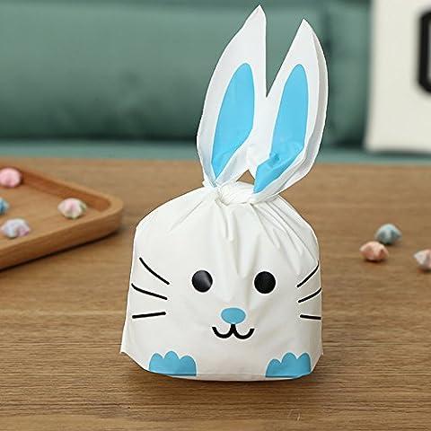 Lugii Cube 50pcs Sacs de cadeau de fête en forme de lapin pour emballer des cadeaux à dessert, Sandwich, Snack, bonbons, biscuits, biscuits, gâteaux, fruits, bleu