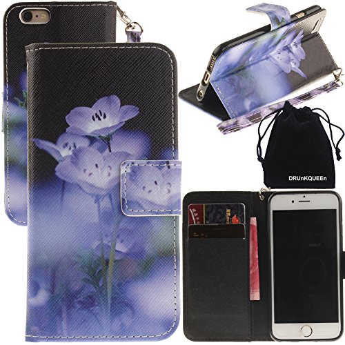 iPhone 6s Plus Case, iPhone 6 Plus Case, DRUnKQUEEn Wallet Purse Type Leather Credit Cards Case with Cellphone Holder Flip Cover for Apple iPhone 6sPlus 6Plus - Hand Strap Included