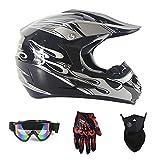 Motocross Quad Crash DH Helm DOT Certified-Full Face Off Road Downhill Dirt Bike MX ATV Motorbike Helm für Unisex,Black/Silver,S(52~53cm)