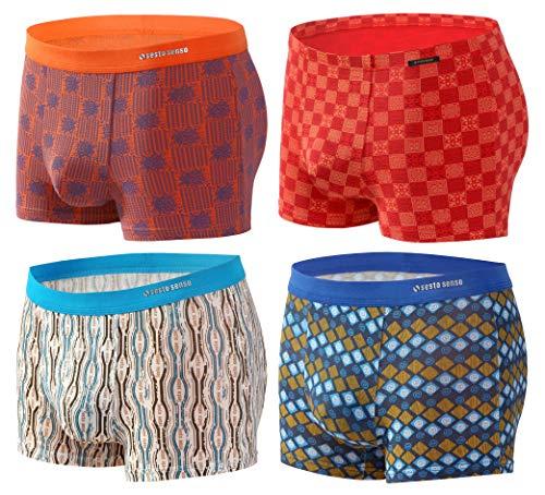 Sesto Senso® Herren Boxershorts Bambusfaser Multipack 1, 2 oder 4 Stück Jugend Retroshorts Micro Modal Unterhosen Unterwäsche Funky (XXL, 4 Pack 5-8) Bambus Slip