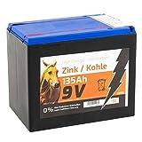 Voss.farming Batterie sèche Zinc Carbone 135 Ah 9V pour clôture électrique – Adaptée aux appareils solaires – Modèle Moyen