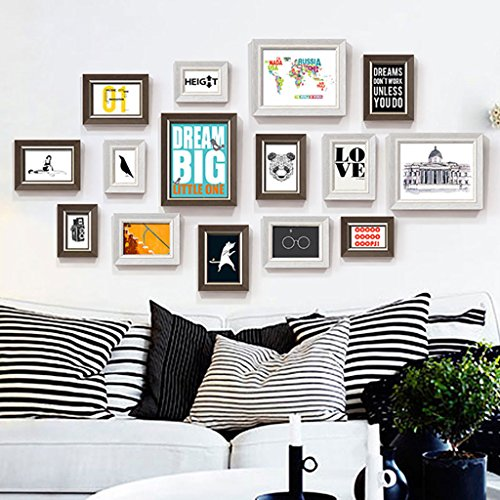 Dekorrahmen Moderne Kunststoff Bilderrahmen Wand Sets Von 15, hängen Bilderrahmen Wand Wohnzimmer Schlafzimmer Kombination Bilderrahmen Wand Sofa Hintergrund Bilderrahmen Wand ( Farbe : C , größe : 15frames/145*80CM )