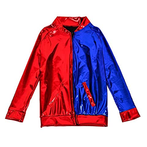 One BFD Men Women Metallic Shiny Silver Gold Lightweight Slim fit Bomber Jacket (Medium / Large, Red and Blue)