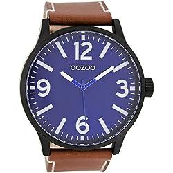 Oozoo Herrenuhr mit Lederband 50 MM Dunkelblau/Rotbraun C7401