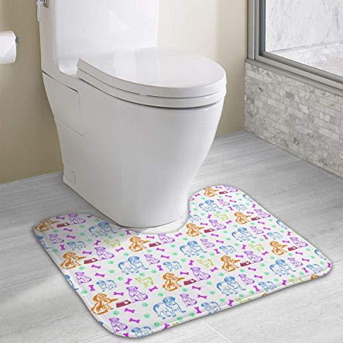 (Hoklcvd Pattern Dogs Bones Paws U-förmige Toilette Bodenteppich Rutschfeste Toilette Teppiche Duschmatte)