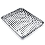 TeamFar Mini Oven Tray with Rack Set, Stainless Steel Baking Tray Oven Pan with Cooling Rack, 26x20x2.5cm, Healthy & Non Toxic, Easy Clean & Dishwasher Safe