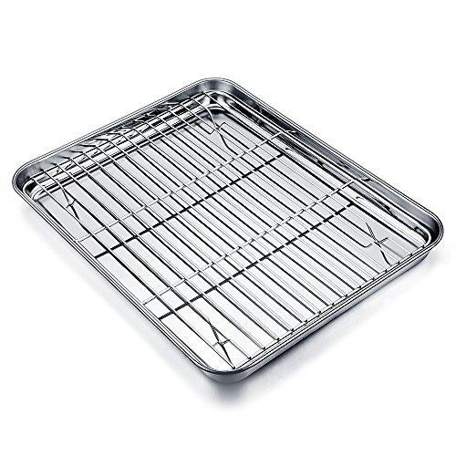 TeamFar Set aus Backblech und Rost aus Edelstahl für Miniöfen. Backblech/Grillpfanne mit Küchenrost, 20x 26x 2,5cm, gesund & ungiftig, leicht zu reinigen und spülmaschinenfest.
