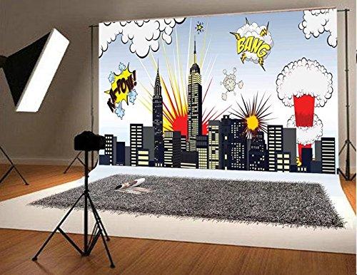 : Superheld Stadt - fotografie digitale kulissen nahtlosen hintergrund für Fotoautomat requisiten 220x150cm (Superhelden-foto)