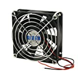 SODIAL(R) Ventilador de Refrigeracion CPU Cascara de Plastico Negro Housing CC 24V con Protector de Metal para Dedos